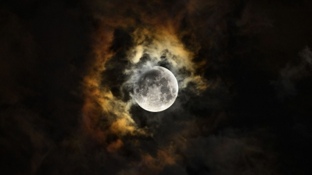 Fabulous Moon Shot F - photo, space, beautiful, clouds, photography, moon, wide screen, nature, scenery, night