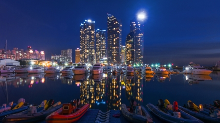 beautiful city marina on a calm night - marina, city, boats, lights, harbor, night, skyscrapers