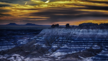 arizona painted desert at dusk - colors, desert, dusk, layers, hills, clouds