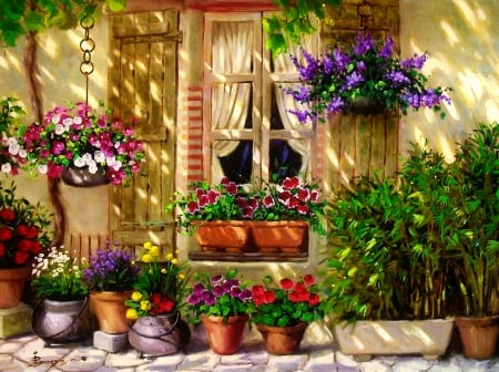Spring house - art, house, cozy, home, flowers, beautiful, spring, freshness