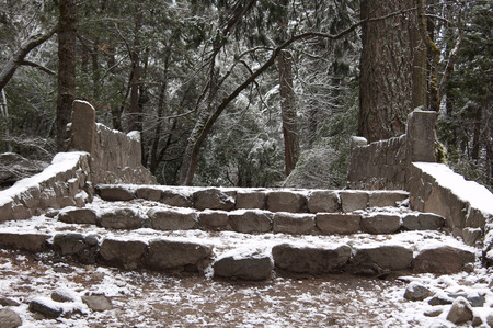 Winter Stairs - stairs, snow, winter, forest, park, nature, yosemite