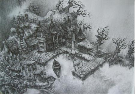 Harbor pencil drawing