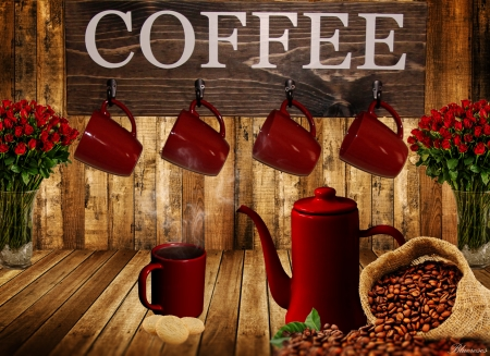 *Coffee* - red, good morning, cafe, beans, roses, happy, coffee, hot, day, cups