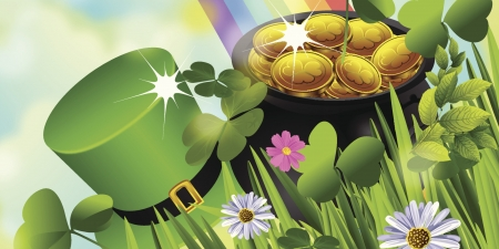 St. Patrick's Day - money, Saint Patricks Day, grass, pot, rainbow, coins, hat, St Patricks Day, leaves, gold, clover, flowers, shamrocks, Patricks Day, gold coins