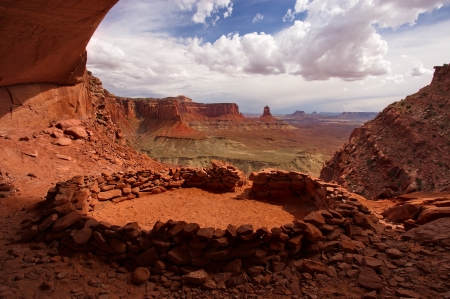 Canyonlands, Utah - landscape, sky, formations, clouds, mountains
