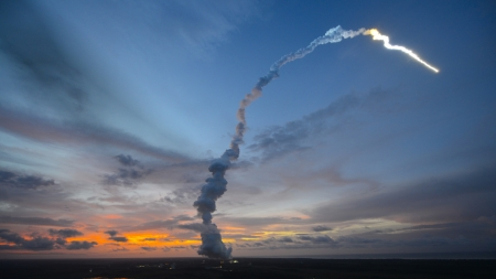 orion space capsule launch - rocket, trail, dusk, smoke, launch
