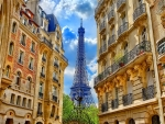 eifel tower between buildings in paris hdr