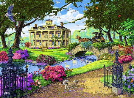Visiting the Mansion - house, horse, coach, artwork, bridge, people, painting, path, river, dog