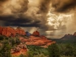 heavy storm clouds above sedona