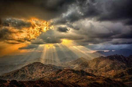 Desert - hills, sunrays, colors, clouds, sky