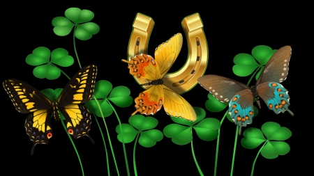 Butterflies and Shamrocks F - art, Saint Patricks Day, holiday, horse shoe, beautiful, butterflies, illustration, artwork, March, painting, wide screen, shamrocks, occasion