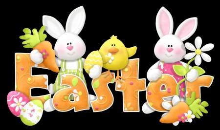 Happy Easter - cute, carrots, easter, chicks, bunnies, baby