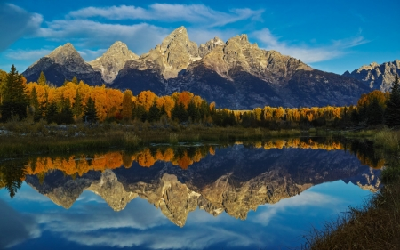 Autumn Lake - forest, autumn, mountains, nature, reflection, clouds, lake