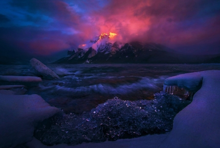 Light of the Storm, Canadian Rockies - snow, mountains, ice, sunset, clouds, sky