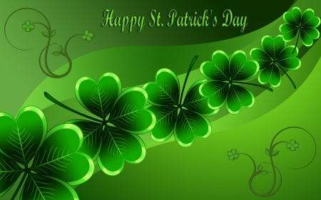 Happy St. Patrick's Day F1 - art, Saint Patricks Day, holiday, beautiful, illustration, artwork, March, painting, wide screen, shamrocks, occasion
