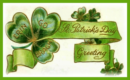 Vintage Erin Go Bragh Postcard  - art, Saint Patricks Day, holiday, beautiful, illustration, artwork, shamrock, March, painting, wide screen, occasion