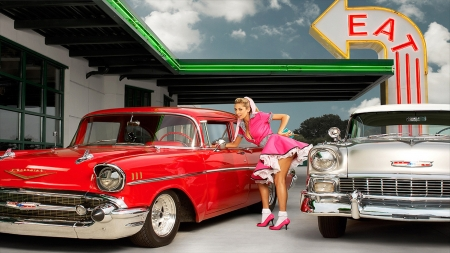 50 S Classics Girls And Cars Cars Background Wallpapers