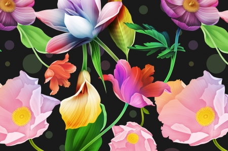 In the Mix - callilies, wallpaper, cosmos, calimbines, florals, patterns