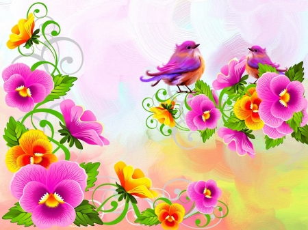 Floria - bright, birds, colors, florals, vector