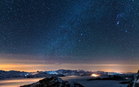 Milky Way - land, night, sky, sunset