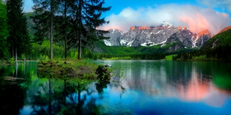 Mountain and lake - hills, forest, rocks, greenery, beautiful, lake, mountain, tranquil, mirror, reflection, landscape