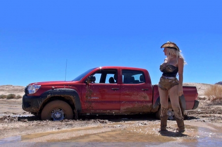 Stuck Again...... - female, models, hats, boots, mud, fun, outdoors, women, cowgirls, trucks, girls, toyota, blondes, western, style