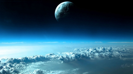 Above the Clouds - moon, space, clouds, sky, blue