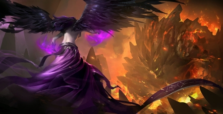League Of Legends - videogames, wings, angel, fire, gollem, fantasy, battle, flames, purple, dark
