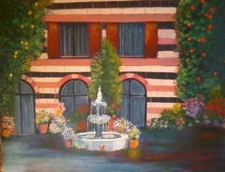 old house painted by saad kilo - art, old houses, paintings, flowers, colors, acrylic, trees