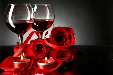 Red Roses & Wine - glasses, flowers, roses, candles