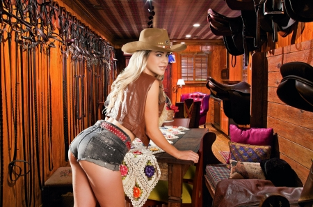 I'm Moving In.... - female, models, hats, ranch, fun, women, bunkhouse, cowgirls, girls, fashion, cutoffs, blondes, western, style