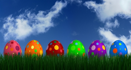 Easter Eggs - Easter, dots, holiday, grass, eggs, clouds, sky