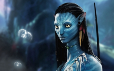 Avatar (2009) - Zoe Saldana, Neytiri, movie, Zoe Saldana 	Zoe Saldana, woman, avatar, fantasy, girl, actress, creature, blue