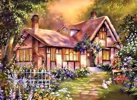 Country Cottage - Garden, Art, Flowers, Cottage