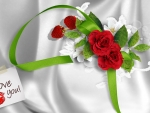 Red Roses on White Satin