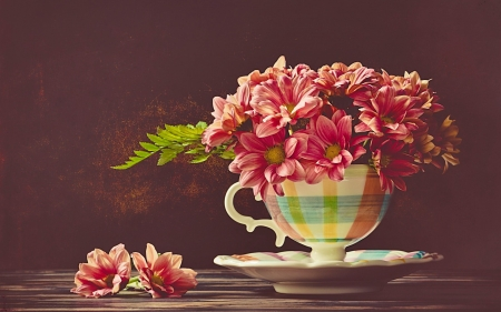 Still life - pretty, vase, beautiful, spring, delicate, still life, bouquet, cup, flowers