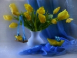 yellow tulips and butterflies