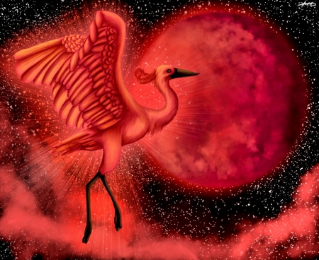 CRANE - fantasy, moon, wings, red moon, painting, bright color