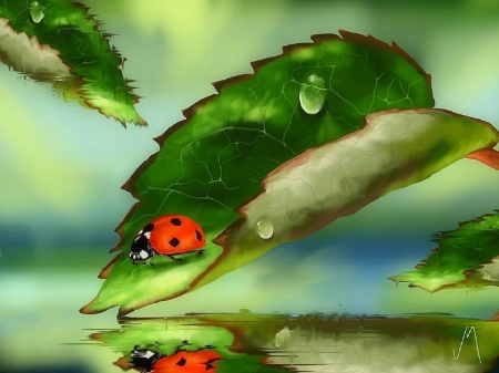 Green Leaves - colors, love four seasons, spring, leaf, ladybug, leaves, paintings, green, nature