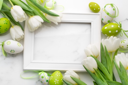 Easter - easter eggs, white tulips, happy easter, tulips, easter