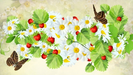 Fresh Spring Berries and Butterflies - fresh, butterflied, spring, daisies, leaves, berries, tasty, summer, flowers, Firefox Persona theme
