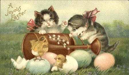 Image result for easter cat vintage