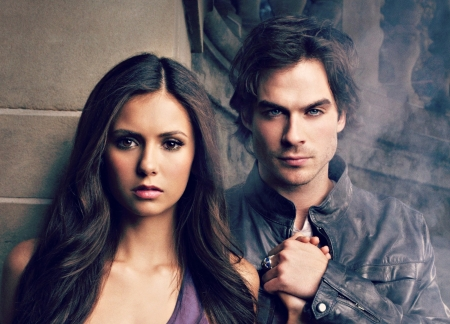 Elena and Damon - the vampire diaries, Ian Somerhalder, damon, elena, actress, Nina Dobrev, tv series, smoke, couple, fantasu, actor