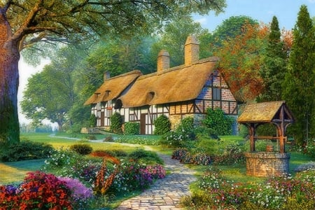 Lovely Cottage In Spring - colorful, house, lovely, cottage, well, spring, fantasy, painting, flowers
