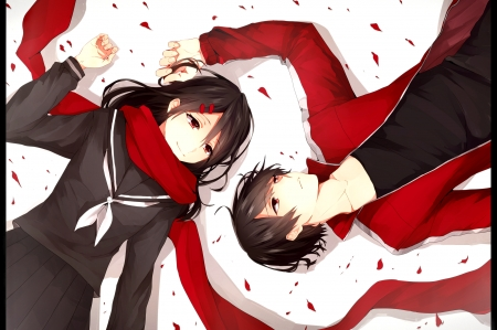 Tateyama Ayano & Shintarou Rara - red, pretty, beautiful, sweet, anime, love, beauty, anime girl, long hair, couple, black hair, male, lovely, man, soft, short hair, cute, boy, girl, uniform, snow, scarf, petals