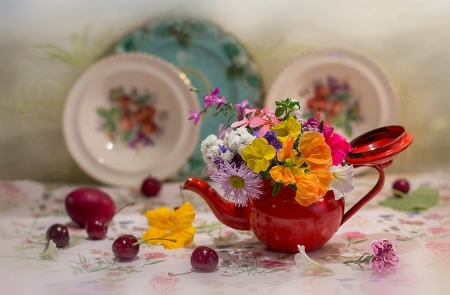 Flowers arrangement - ornaments, colorful, fruits, plates, still life, flowers, arrangement, nature, kettle