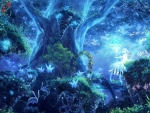 Magical blue forest