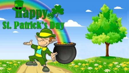 Happy Saint Patrick's Day - grass, pot, rainbow, coins, Happy Saint Patricks Day, clouds, clovers, gold, flowers, Spring, road, Patricks Day, gold coins, money, Saint Patricks Day, leprechaun, hat, top hat, tree, shamrocks