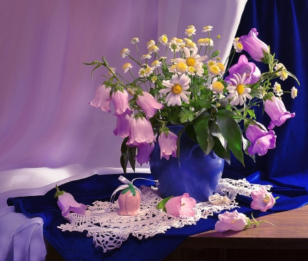 Still life - lace, vase, beautiful, floral, flowers, beauty, pink, blue, wild flowers, colors, soft, pik, delicate, purple, still lfe, nature, bells, dark blue, daisy, natural