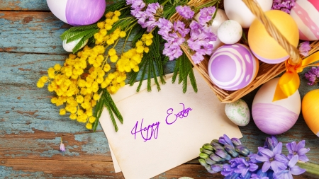Easter Special - rustic, Easter, eggs, spring, lavender, mimosa, feathers, colored eggs